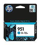 HP 951 CN050AE, Cian, Cartucho de Tinta Original, de 700 páginas, para impresoras HP Officejet Pro serie 8600, 8100, 251dw y 276sw