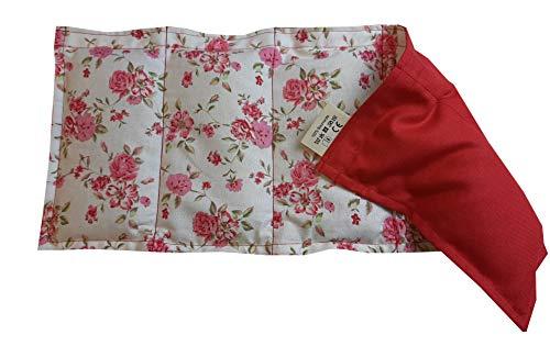 Körnerkissen Wärmekissen Westfallenstoff Rosen weiß/rot Wendekissen für Wärme sowie Kältetherapie 50x20cm Getreidekissen
