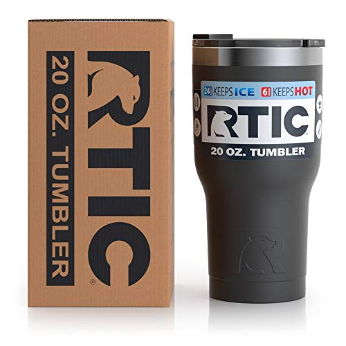 RTIC Tumbler, 20 oz, Black, Insulated Travel Stainless Steel Mug, Hot Or Cold Drinks, with Splash Proof Lid