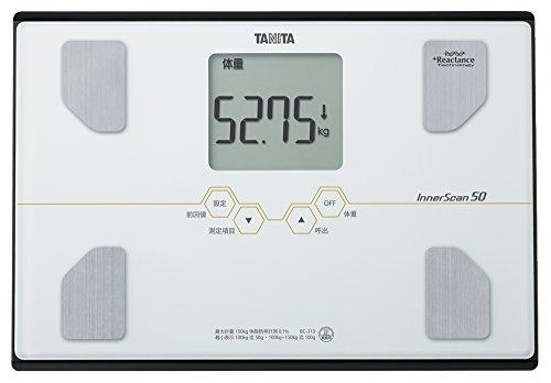 TANITA 【体重50g単位表示】 & 【乗った人をピタリと当てる「乗るピタ機能」搭載】 体組成計 インナースキャン50 パールホワイト BC-313-WH