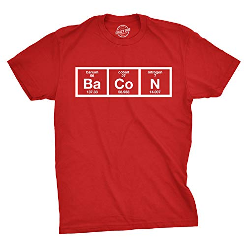 Mens The Chemistry of Bacon T Shirt Funny Nerdy Graphic Periodic Table Science (Red) - XL