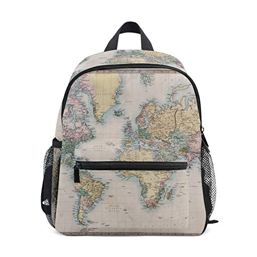 Backpack for Boys and Girls Mini Backpack Travel Bag with Chest Clip The Color World Map