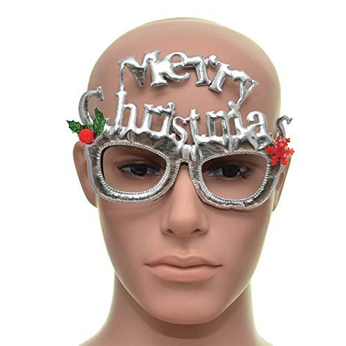 Shatchi 15654-CHRISTMAS-GLASSES-SILVER zilveren vrolijke kerst bril Fancy kerstjurk nieuwigheid partij accessoires benodigdheden Selfie foto rekwisieten tas Stocking Fillers leuk