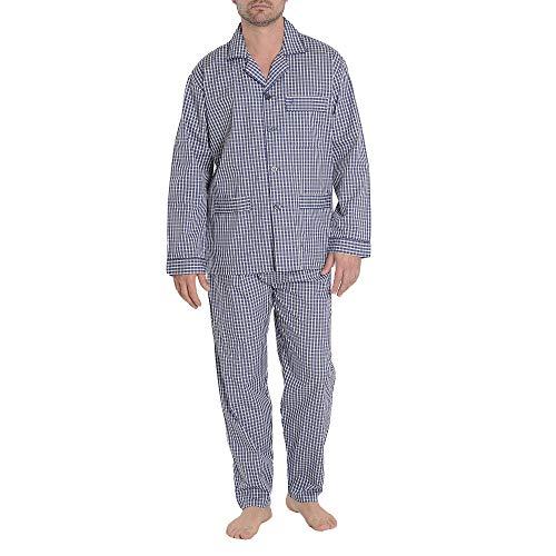 El Búho Nocturno - Herren Karierter Zweiteiliger Pyjama mit Langen Ärmeln   Schlafanzug der Zwischensaison, Nachtwäsche für Männer - Popelinestoff, 100{b25db6a1cfd243d16072e471dd40a338e1df27aaea7635f62c8a211ea8dcdfa0} Baumwolle - Größe XL - Navy und Blau