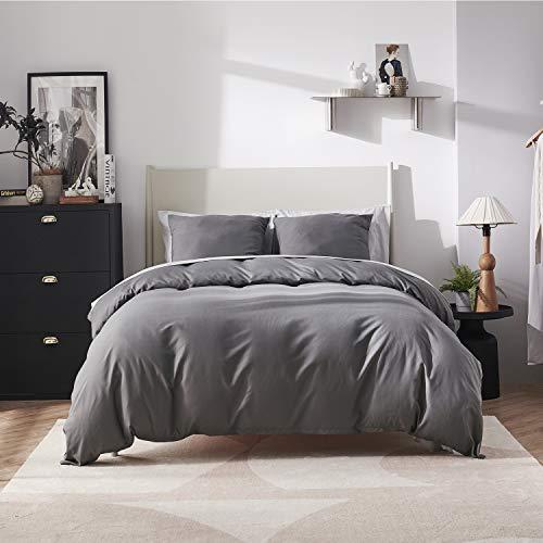 BEDSURE Bettwäsche 135x200 anthrazit Mikrofaser- Bettbezug 135x200 cm 2 teilig mit 80x80 cm Kissenbezug für Einzelbett weich und bügelfrei