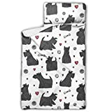 WYYWCY Cute Cartoon Pet Dog Scottish Terrier Daycare Toddler Nap Mat Nap Mat para guardería con Manta y Almohada Diseño Enrollable Ideal para preescolares Guarderías 50'x20
