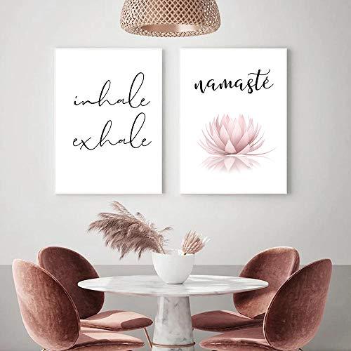 None brand Namaste Lotus Print Zen Yoga Wall Art Canvas Painting Picture Inhale Exhale Cartel Minimalista Moderno Decoración de la Pared de la habitación del hogar Sin marco-30X40cmX2