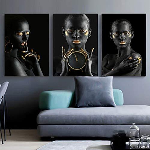 Nativeemie Lienzo Art Pared Negro Oro Art Africano Mujer Pintura sobr Lienzo Cuadros Carteles Impresiones Imag Pared Sa Estar Decor para el hogar 20x30cm / 7.8'x11.8 X3 Marco Interno