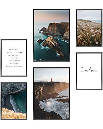 Heimlich® Premium Poster Set | Stilvolles Set mit passenden Bilder als Wohnzimmer Deko | 2 x DIN A3 & 4 x DIN A4 - ca. 30x42 & 21x30 | ohne Bilderrahmen » Meer und Strand «