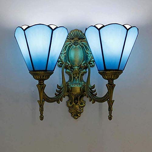 ToroDWallLight Wandlamp, vintage-stijl, Tiffany-stijl, wandlamp, verlichting met lampenkap van glas, bronskleurig, antiek-look, wandlamp van metaal, woonkamer, allee, slaapkamer, nachtkastje, spiegel