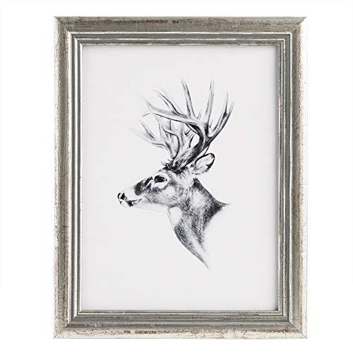 WOLTU Bilderrahmen Fotogalerie, Holz Rahmen, Glasscheibe, Artos Stil (Silber, 30x40cm), 9443