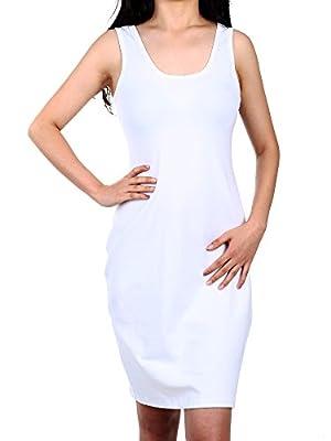 Satinior Women Sleeveless Bodycon Tank Midi Dresses Scoop Neck Slim Fit Tank Mini Dress