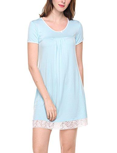 UNibelle UNibelle Damen Nachthemd Kleid Nachtwäsche Negligees Kurzarm Mit Spitzenbesatz, S-hellblau, S