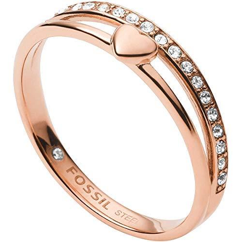 Fossil JF03460791505 Damen Ring Herz Vintage Glitz Rose 16,9 mm Größe 53