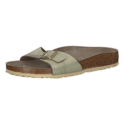 BIRKENSTOCK Damen Pantoletten Madrid 1008696 Metallic Stone/Copper (beige) - Damenschuhe Pantolette/Zehentrenner, Beige Gold 414785