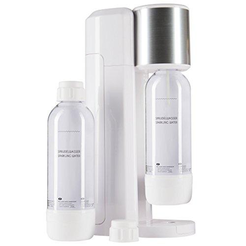Levivo Wassersprudler Set / Trinkwassersprudler Starter Set inkl. 2 Sprudlerflaschen aus PET, klassischer Sodabereiter für individuelles Zusetzen von Kohlensäure in Leitungswasser, Weiß