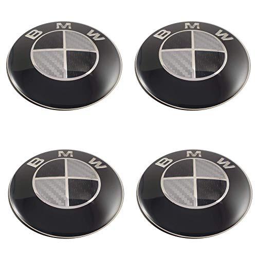 LUDOSTREET ref0009 (X4) Logo Emblema Insignia Anagrama Llanta Rueda Auto Coche Compatible con 68mm 5 Pins (Negro - Blanco Cromado)