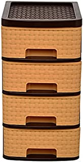 Regalo Maze Multipurpose Plastic Drawer System Organizer Rack Home and Kitchen (4 Layer, Bamboo)