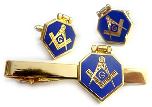 Gold Masonic Cufflinks and Matching Tie Bar