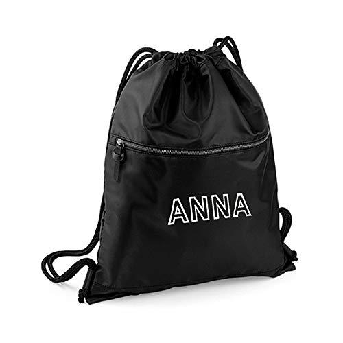 Turnbeutel schwarz personalisiert mit Bestickung Name, individueller Rucksack zum selbstgestalten ca. 37 x 47 cm, stylische Tasche Bestickt mit Name, Beutel individuell mit Text