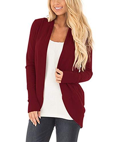 Cnfio Damen Strickjacke Casual Cardigan Langarm stricken pullover outwear mit Taschen Mantel Jacke Winter