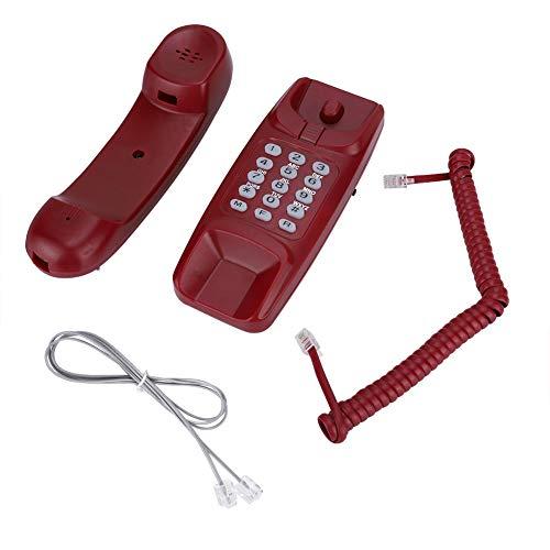 Vaste telefoon voor wandmontage, vaste telefoon met snoer met nummerherhaling, geen nummerherkenning, telefoon thuis voor hotelfamilies (rood)