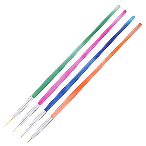 Le yi Wang You 4 Stück/Set Nail Art Liner Pinsel, UV Gel Malerei Nail Design Pinsel Stift, Nail Dotting Painting Zeichenstift