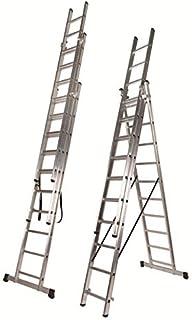 comprar comparacion Escalera 3 Tramos Transformable Profesional de Aluminio Triple Tijera con Tramo Extensible (3+3+3 mts). Escada Tripla (3+3...