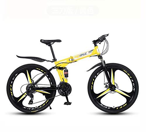 GASLIKE Bicicleta de montaña para Adultos, Bicicleta Plegable, Cuadro de Acero de Alto Carbono, Bicicletas MTB de suspensión Completa, Freno de Doble Disco, Pedales de PVC