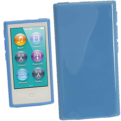 igadgitz Azul Case TPU Gel Funda Cover Carcasa para Apple iPod Nano 7ª Gen 7G 16GB + Protector de pantalla