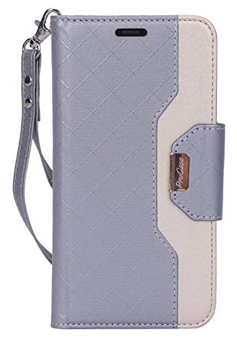 ProCase iPhone 11 Wallet Case for Women, Flip Folio Kickstand PU Leather Case with Card Holder Wristlet Hand Strap, Stand Protective Cover for iPhone 11 6.1' 2019 Release -Grey