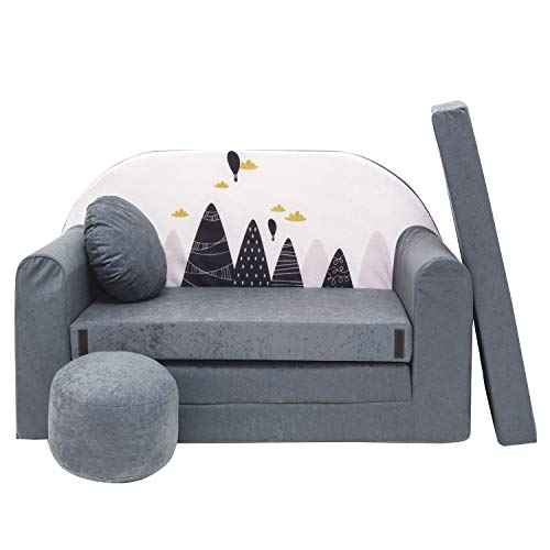 millybo Kindersofa Mini Couch Spielsofa Kindercouch 3in1 Doppelsofa Minisofa (AX2)