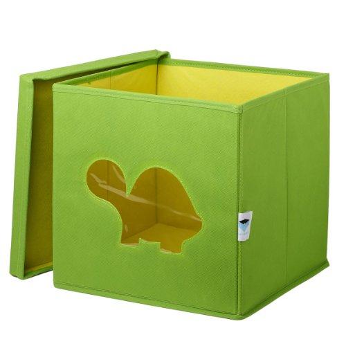 STORE.IT Spielzeugkiste mit Sichtfenster | Schildkröte| 30x30x30cm | grün