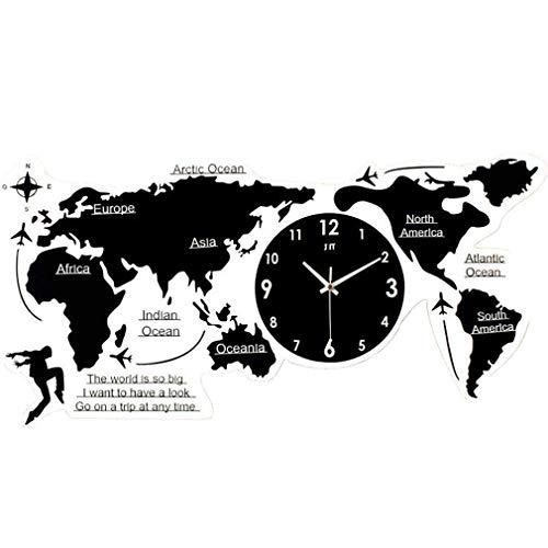 YVX Acrílico 3D Creativo Mapa del Mundo Grande Forma Personalidad Reloj de Pared Diseño Moderno Relojes Redondos Etiqueta de la Pared Decoración Sala de Estar Mapa silencioso Reloj Colgante Gran