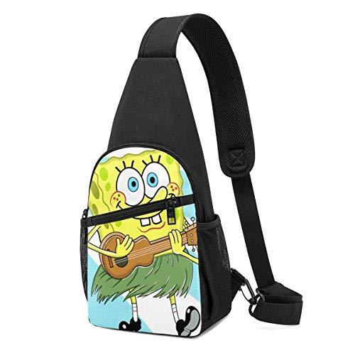 JONINOT SpongeBob Crossbody Schultertaschen Rucksack Rucksack Umhängetasche Daypack Brusttasche Wandern