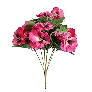 adonpshy 1Pc Artificial Flower Pansy Garden DIY Stage Party Home Wedding Craft Decoration Suitable for Many Occasions Rose Red