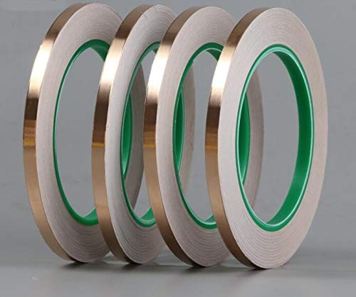 Lkjh 20M DIY Dubbelzijdige geleidende zuiver koper folie tape zelfklevende tape afscherming antenne signaalversterking (Length : 25M, Width : 3mm)