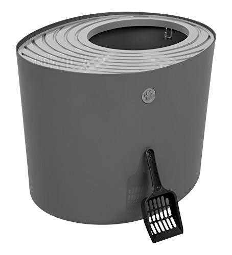 Price comparison product image IRIS USA Top Entry Cat Litter Box with Cat Litter Scoop,  Dark Gray & Gray,  Large (589606) PUNT-530