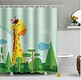 daimin PEVA Duschvorhänge mit Animal-Print wasserdichte, feuchtigkeitswiderstandsfähige Badvorhänge für zu Hause 180 x 200 cm mit 12 Haken