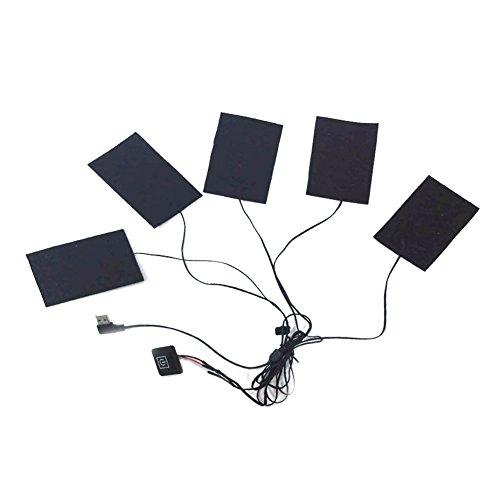 USB Térmico Chaleco Gamuza de calefacción con Control de Temperatura Interruptor eléctrico calefacción Almohadilla de Ropa Lavado Flexible con calefacción Pad, 5 Pads