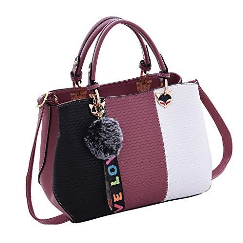 LQQSTORE Damen Umhängetaschen Schultertaschen Work Tasche Faux Leder Medium Schulter Tasches Handtasche Messenger Tasches (Lila)