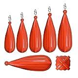 Ulapithi 6 conectores de entrenamiento de pesca, de PVC, para niños, rojo/verde, adecuado para niños, para mejorar las habilidades de casting