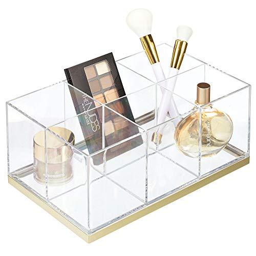 mDesign Organizador de Maquillaje – Caja organizadora biselada con 6 Compartimentos de plástico – Organizador de cosméticos para Sombras de Ojos, Polvos, labiales, etc. – Transparente y Dorado latón