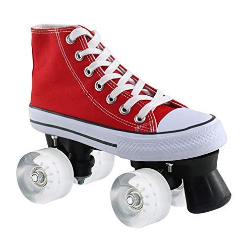Rote Leinwand HI-PE Quad Rollschuhe, Herren und Damen Rollschuhe, Zweireihige Skates Adult Child Girl Rollschuhe,White Wheel,41