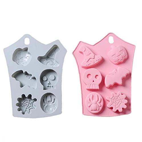 Molde Fondant De Halloween, 2 Piezas De Calabaza De Silicona De 2 Piezas Skull Skull DIY Fondant Molde De Caramelo Bandeja De Hielo Decoración De Pastel De Pastel Halloween Molde