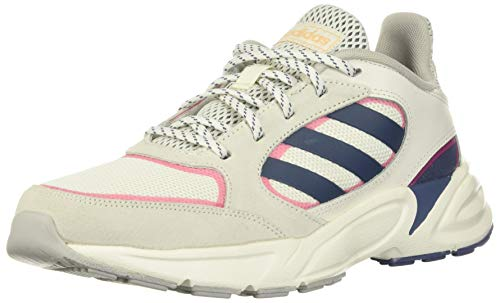 adidas Women's 90s Valasion Sneaker, Cloud White/tech Ink/Real Pink, 9 M US