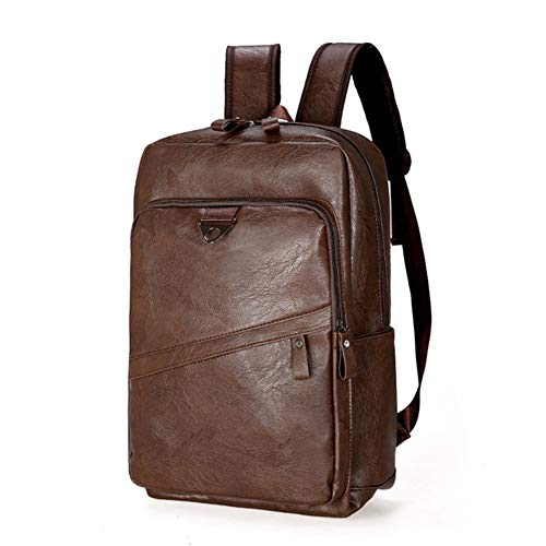 CGOH -Fashion Men Backpack Waterproof PU Leather Travel Bag Man Large Capacity Teenager Male Laptop Backpacks DIY (Color : Dk Brown, Size : XL)