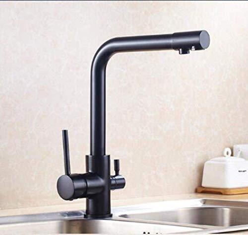 ZLXLX Filter Keukenkranen Deck Gemonteerd Antieke Mixer Tap 360 Rotatie met Waterzuivering Kenmerken Mixer Tap Kraan voor Keuken, Chroom Zwart