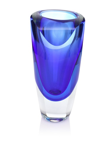 """Badash Azure Murano-Style Art Glass Vase - 9.5"""" Tall Mouth-Blown Glass Bud Vase - Contemporary Home Decor Accent Piece"""