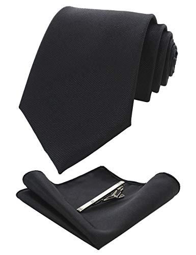 JEMYGINS Cravate noir Homme en Soie et Pinces à cravate Carre de poche Set(11)